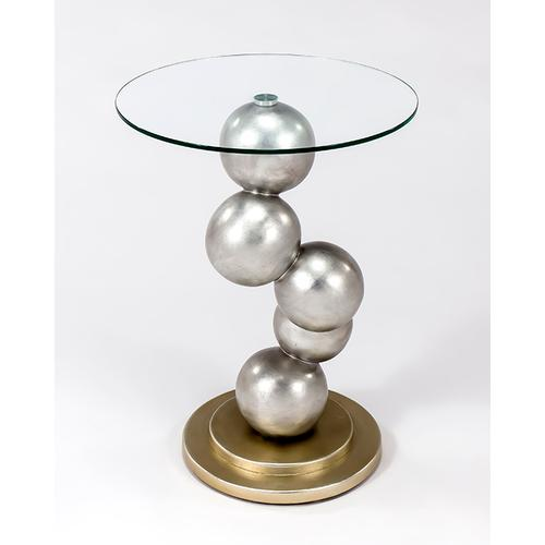 """Artmax - End Table with Glass Dia20x27"""""""