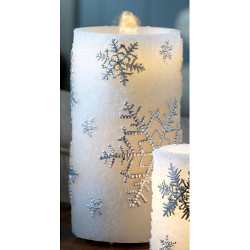 "8"" Silver Snowflake Bubbler Candle w/remote"