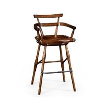 Oak barstool with studded leather seat (Arm)