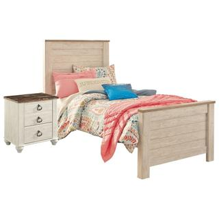 See Details - Twin Panel Bed With Nightstand