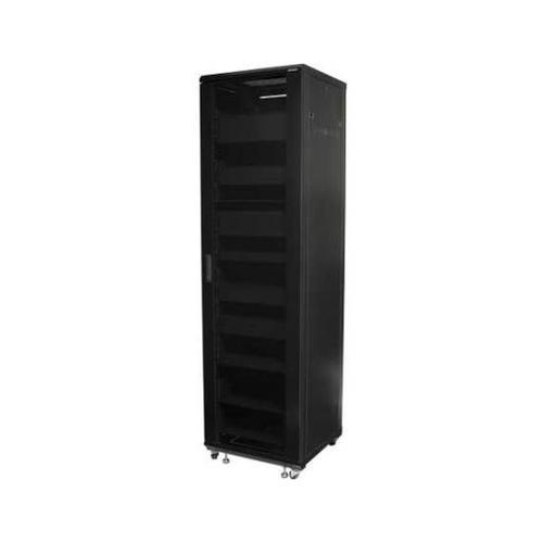 """Black 85"""" Tall AV Rack 44U Component rack for home theater equipment"""