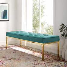 Loft Gold Stainless Steel Leg Large Performance Velvet Bench in Gold Teal