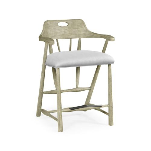 Smokers Style Grey Oak Counter Stool, Upholstered in COM