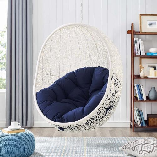 Hide Outdoor Patio Sunbrella® Swing Chair With Stand in White Navy