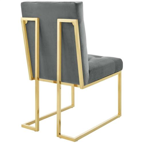 Privy Gold Stainless Steel Performance Velvet Dining Chair in Gold Charcoal