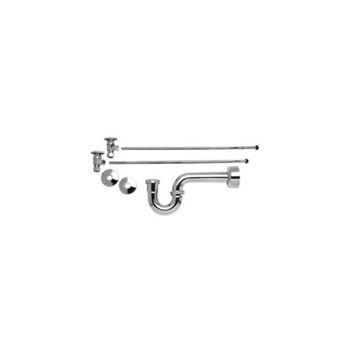 """Lavatory Supply Kit w/ 1-1/4"""" P-Trap - Angle - Deluxe Brass Oval Handle - (5/8"""" O.D.) 1/2"""" Compression Inlet - Oil Rubbed Bronze"""
