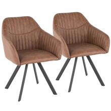 Clubhouse Pleated Chair - Set Of 2 - Black Metal, Brown Pu