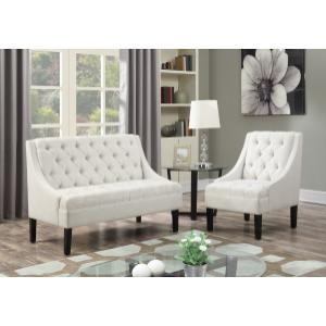 Button Tufted Accent Chair in Avanti Powder White