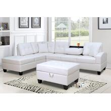 WHITE SECTIONAL CHAISE