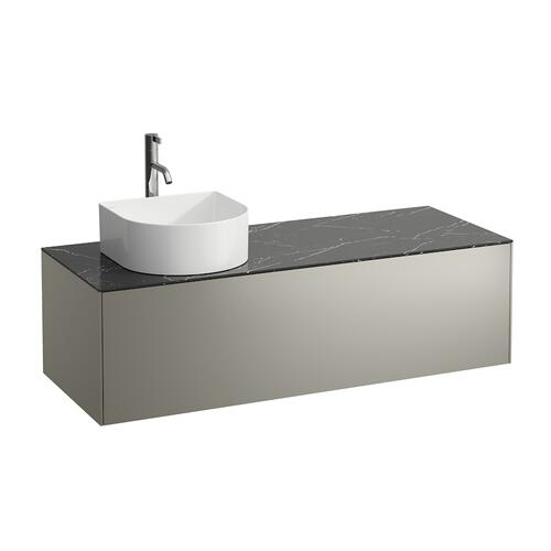 White Matte Drawer element, 1 drawer, matching bowl washbasins 812340, 812341, 812342, 812343, cut-out left, incl. drilled tap hole