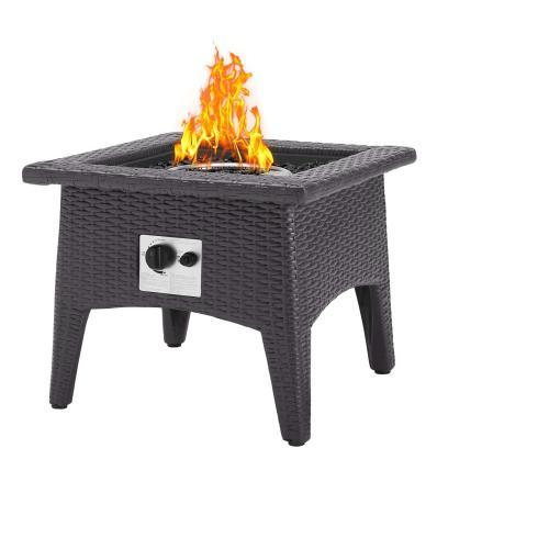 Convene 5 Piece Set Outdoor Patio with Fire Pit in Espresso Beige