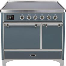See Details - Majestic II 40 Inch Electric Freestanding Range in Blue Grey with Chrome Trim