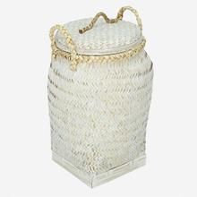 Palermo Round Basket with Lid, White Wash