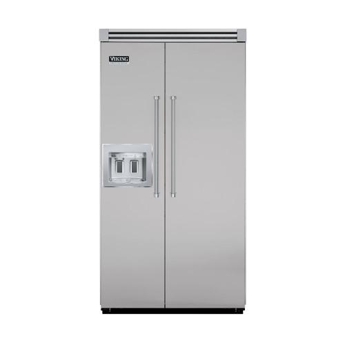 """Viking - Metallic Silver 42"""" Quiet Cool™ Side-by-Side with Dispenser - VISB Tru-Flush™ (42"""" wide)"""