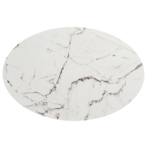 Safavieh - Placido Oval Coffee Table - White Marble / Black