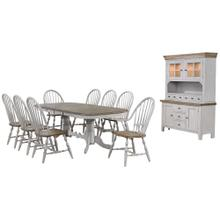 DLU-CG4296-30AGOBH10  10 Piece Double Pedestal Extendable Dining Table Set  2 Arm Chairs  Lighted China Cabinet  Distressed Gray and Brown Wood