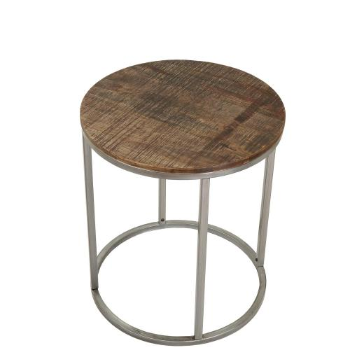 Round Side Table - Brindled Fawn Finish