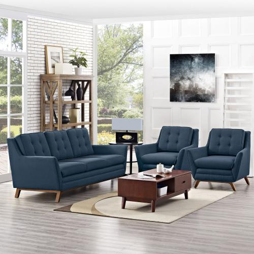 Beguile 3 Piece Upholstered Fabric Living Room Set in Azure