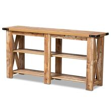 See Details - Baxton Studio Angelo Modern and Contemporary Rustic Oak Brown Finished Wood Console Table