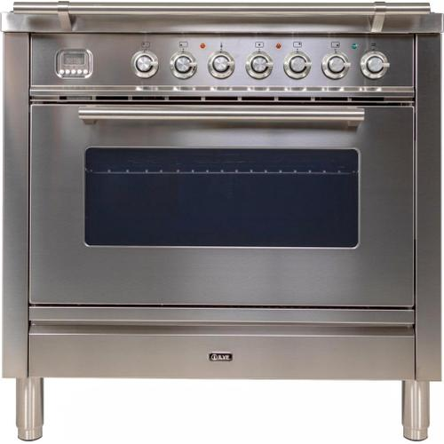 """Ilve - 36"""" Professional Plus Series Freestanding Single Oven Gas Range with 5 Sealed Burners in Stainless Steel"""
