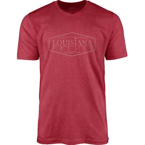 Louisiana Grills - Louisiana Grills Men's Red Heather Picture Logo T-Shirt