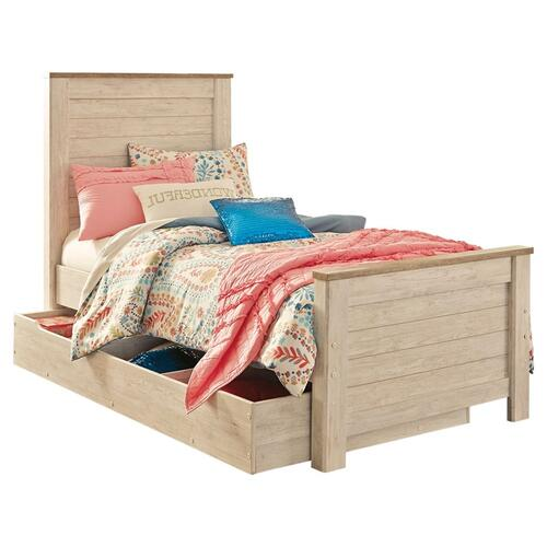 Twin Panel Bed With 1 Storage Drawer With Mirrored Dresser and 2 Nightstands