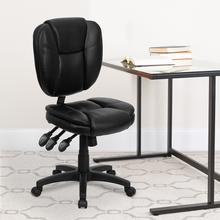 View Product - Mid-Back Black LeatherSoft Multifunction Swivel Ergonomic Task Office Chair with Pillow Top Cushioning