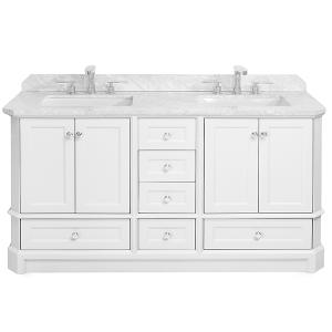 White RICHMOND 60-in Double-Basin Vanity with Carrara Stone Top Product Image