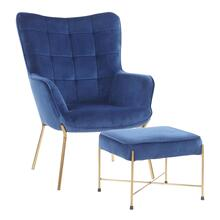 Izzy Lounge Chair + Ottoman Set - Gold Metal, Blue Velvet