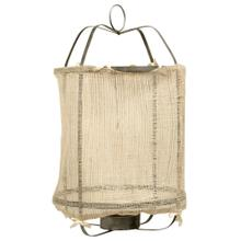 Burlap Lantern  14in X 14in X 39in Metal Frame Pendant Candle Holder with Inside Glass Cylinday and