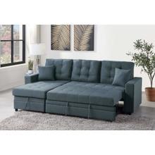Lorene 2pc Sectional Sofa Set, Blue Grey