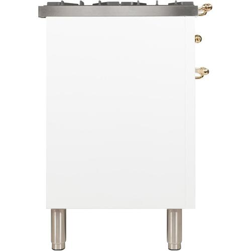 Nostalgie 30 Inch Dual Fuel Natural Gas Freestanding Range in White with Brass Trim