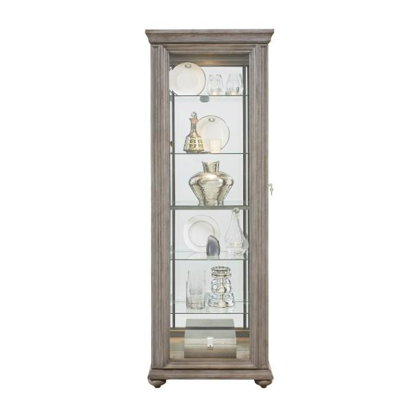 Sliding Framed 5 Shelf Curio Cabinet in Grey