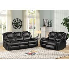 8087 BLACK 2PC Power Recliner Air Leather Living Room SET