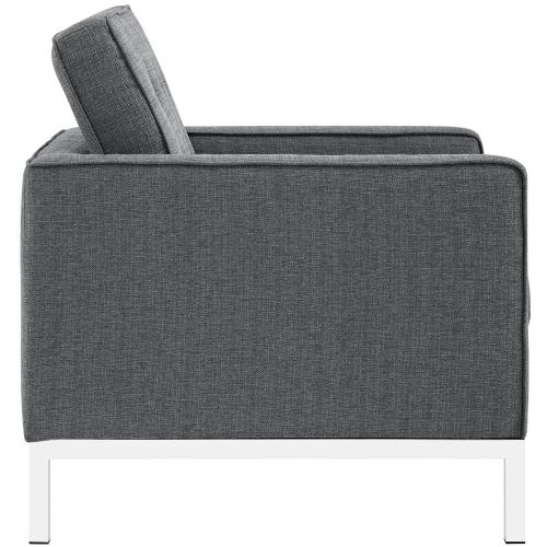 Modway - Loft 3 Piece Upholstered Fabric Sofa Loveseat and Armchair Set in Gray