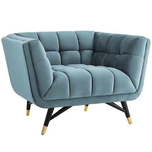 Adept Performance Velvet Armchair in Sea Blue