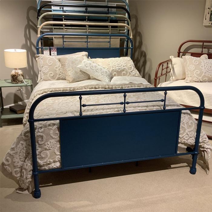 Queen Metal Bed- Navy