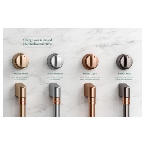 """Gallery - Café™ 36"""" Brushed Stainless Handle & Knob Set for Pro Range and Rangetop"""