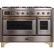 Majestic II 48 Inch Dual Fuel Natural Gas Freestanding Range in Stainless Steel with Brass Trim