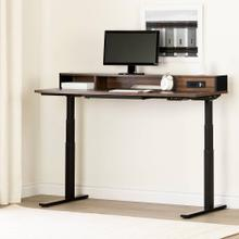 Electric Adjustable Height Standing Desk with Built In Power Bar - Soft Elm and Matte Black