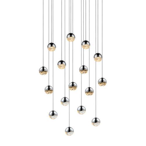 Sonneman - A Way of Light - Grapes® LED Pendant [Size=16-Light Small, Color/Finish=Polished Chrome, Shape=Square Canopy]