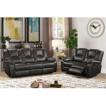 8086 GRAY 2PC Manual Recliner Air Leather Living Room SET