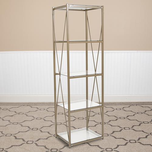 """Flash Furniture - Mar Vista Collection 4 Shelf 64""""H Cross Brace Glass Bookcase in Matte Gold"""