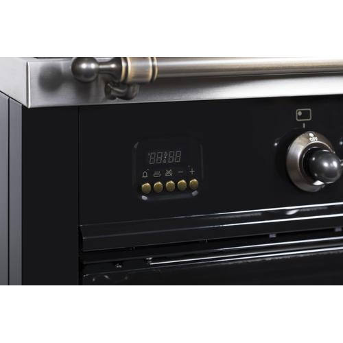 Nostalgie 36 Inch Dual Fuel Natural Gas Freestanding Range in Glossy Black with Bronze Trim