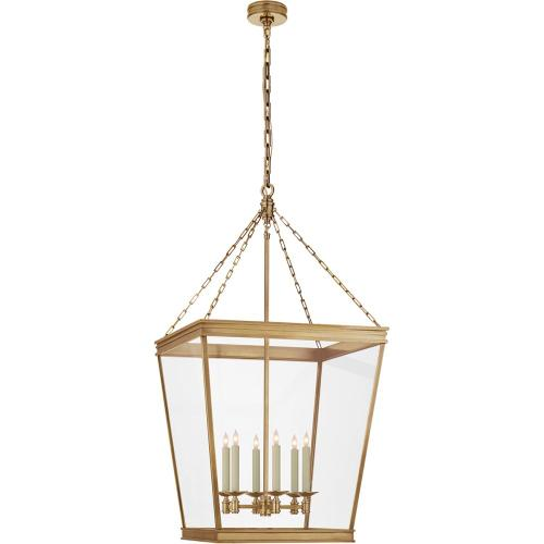 Visual Comfort CHC5612AB-CG E. F. Chapman Launceton 4 Light 24 inch Antique-Burnished Brass Foyer Lantern Ceiling Light, Large Square
