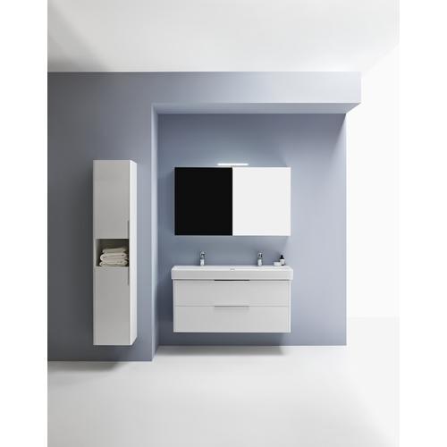 Traffic Grey Tall cabinet, 2 doors, door hinge right, 1 open shelf, 2 glass shelves, design matching combipacks