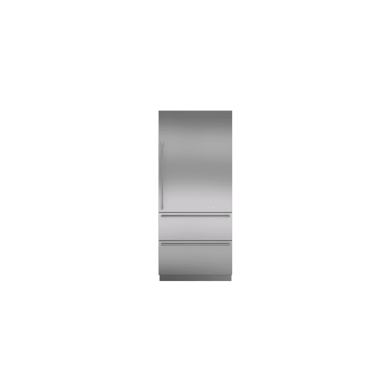 """Integrated Stainless Steel 36"""" Tall Door Panel with Tubular Handle - Right Hinge"""