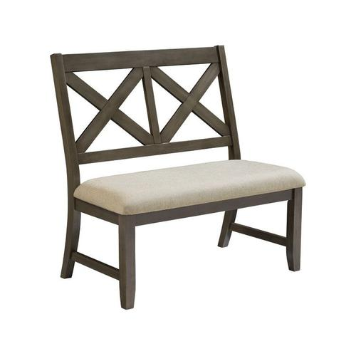 Standard Furniture - Omaha X-Back Bench with Upholstered Seat, Grey