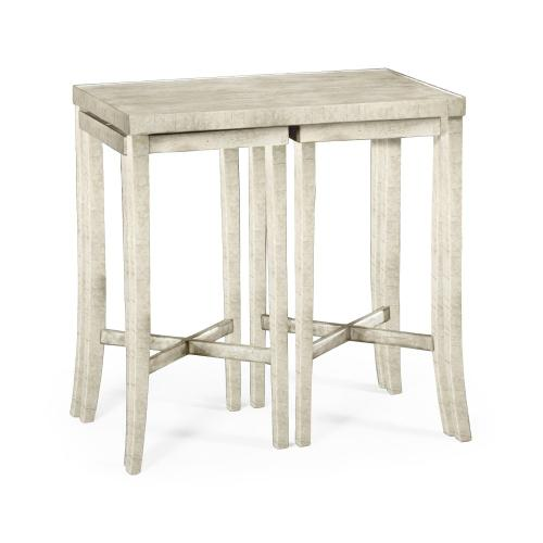 Nesting Cocktail Tables in White Wash Driftwood