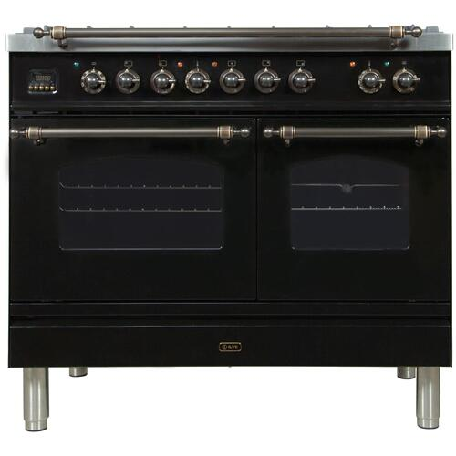 Nostalgie 40 Inch Dual Fuel Liquid Propane Freestanding Range in Glossy Black with Bronze Trim